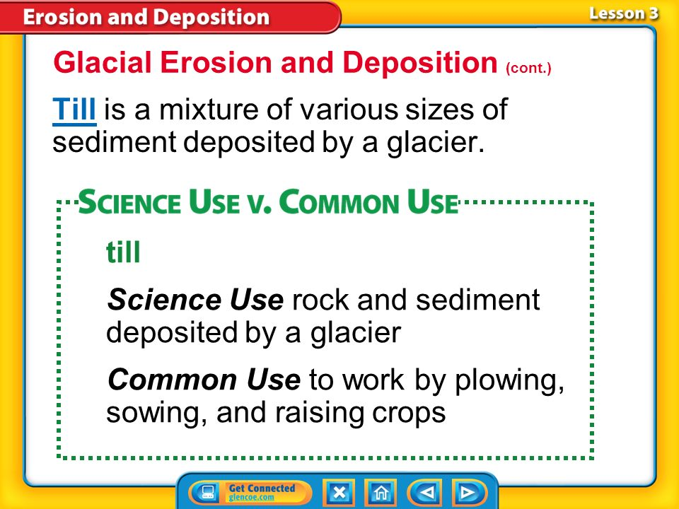 Glacial Erosion and Deposition (cont.)