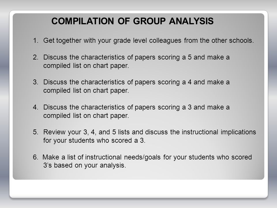 COMPILATION OF GROUP ANALYSIS