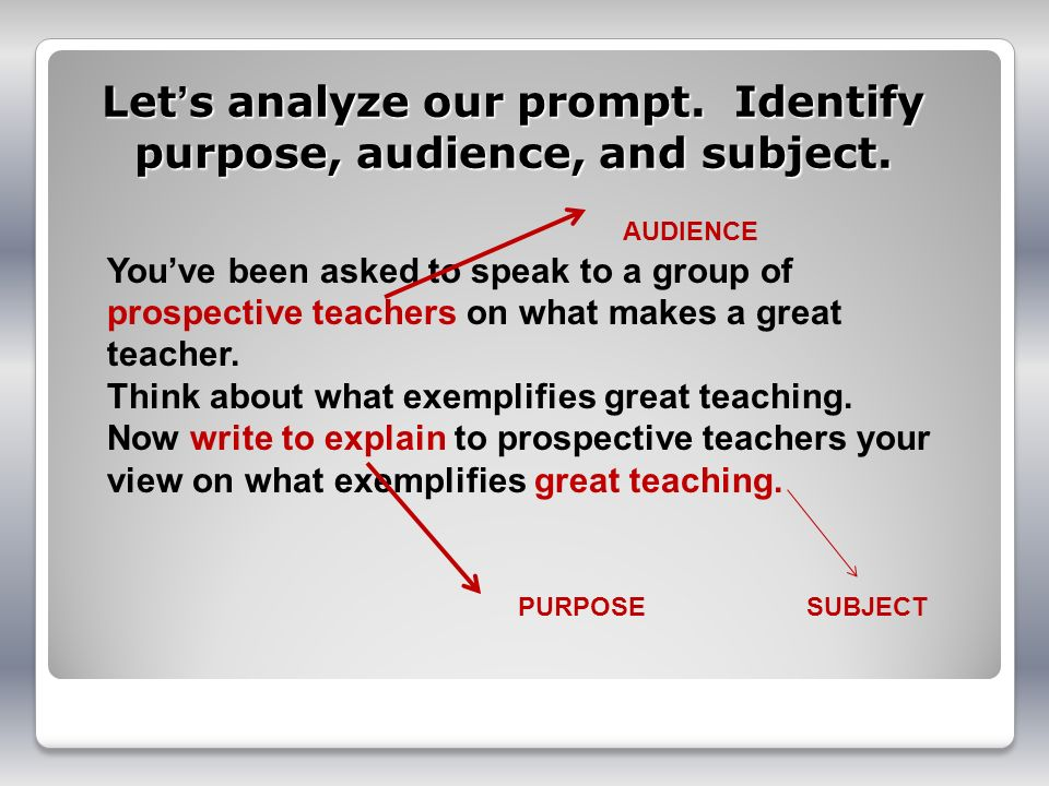 Let's analyze our prompt. Identify purpose, audience, and subject.