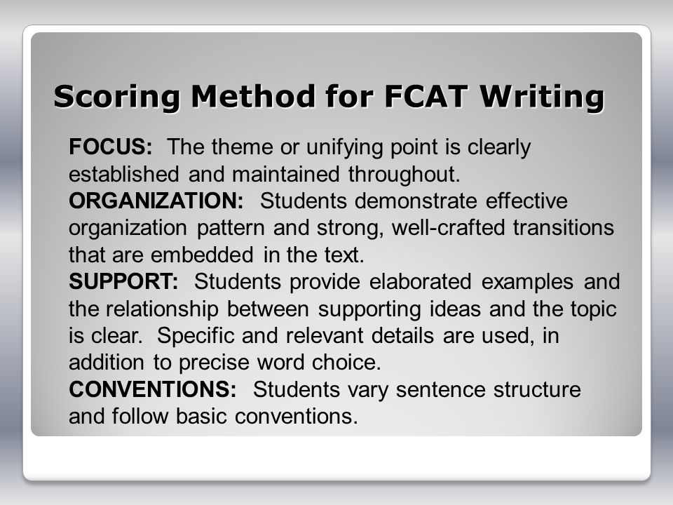 Scoring Method for FCAT Writing