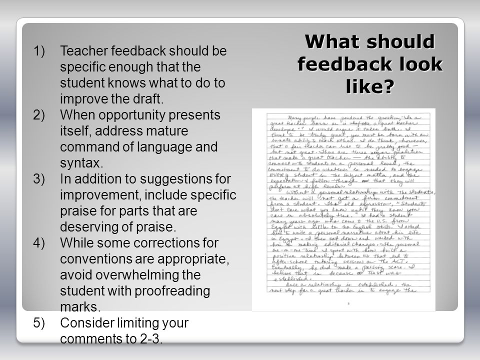 What should feedback look like