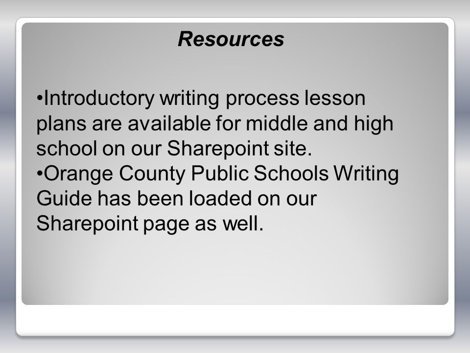 Resources Introductory writing process lesson plans are available for middle and high school on our Sharepoint site.