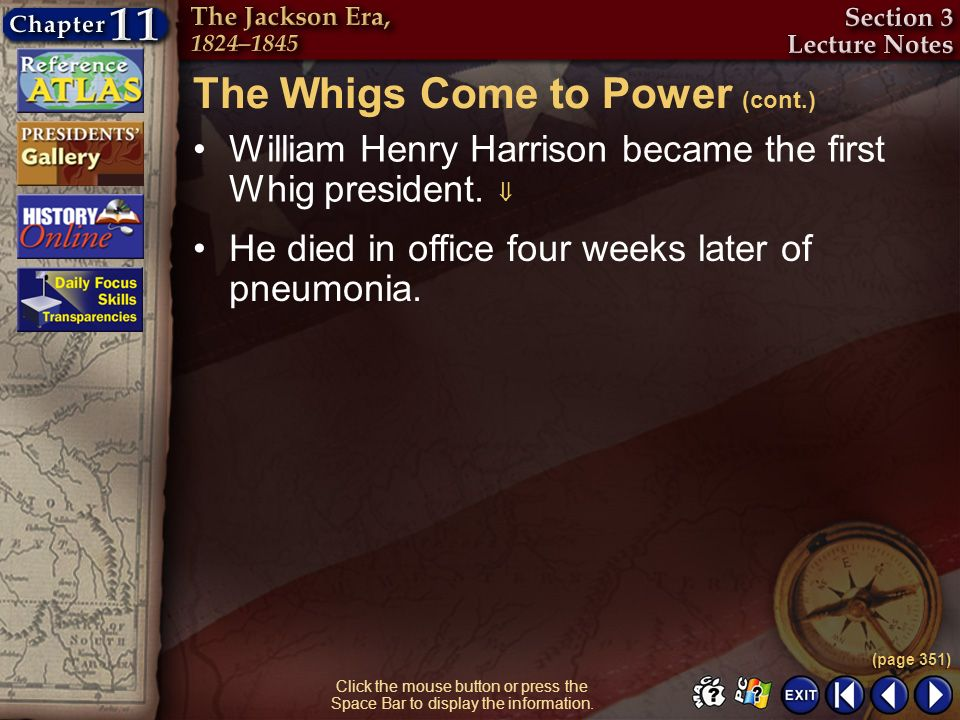 The Whigs Come to Power (cont.)