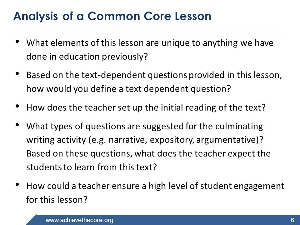 Analysis of a Common Core Lesson