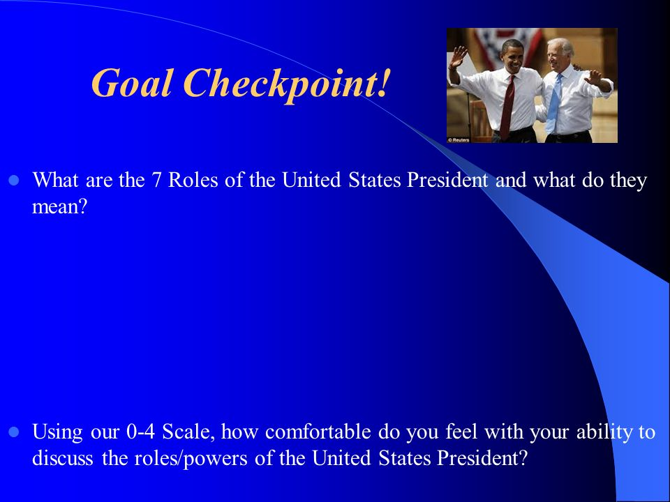 Goal Checkpoint! What are the 7 Roles of the United States President and what do they mean