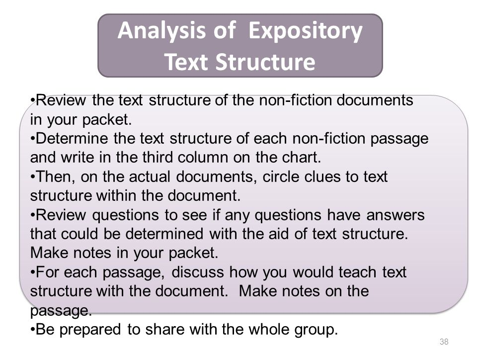 Analysis of Expository Text Structure