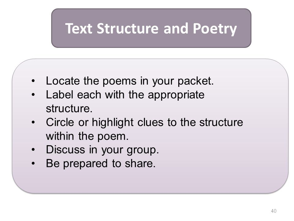 Text Structure and Poetry