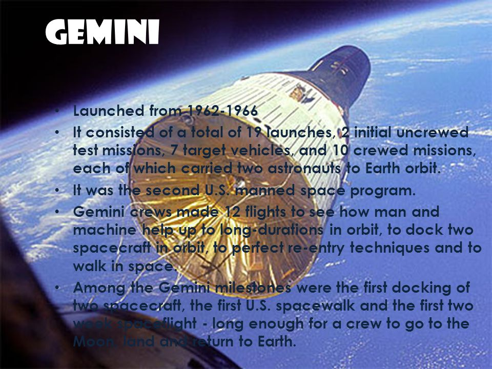GEMINI Launched from 1962-1966.