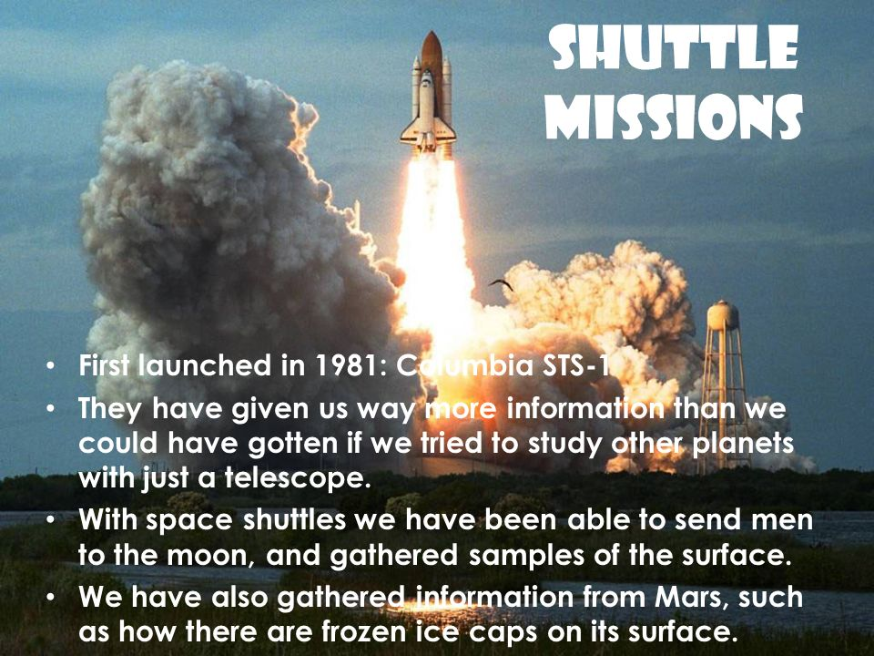 SHUTTLE MISSIONS First launched in 1981: Columbia STS-1