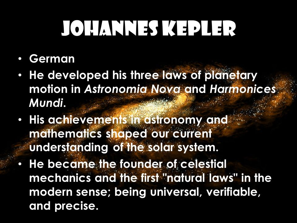 JOHANNES KEPLER German