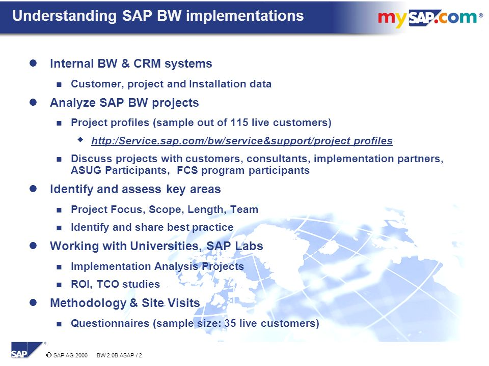Agenda SAP BW Project Experiences Key Success Factors - ppt