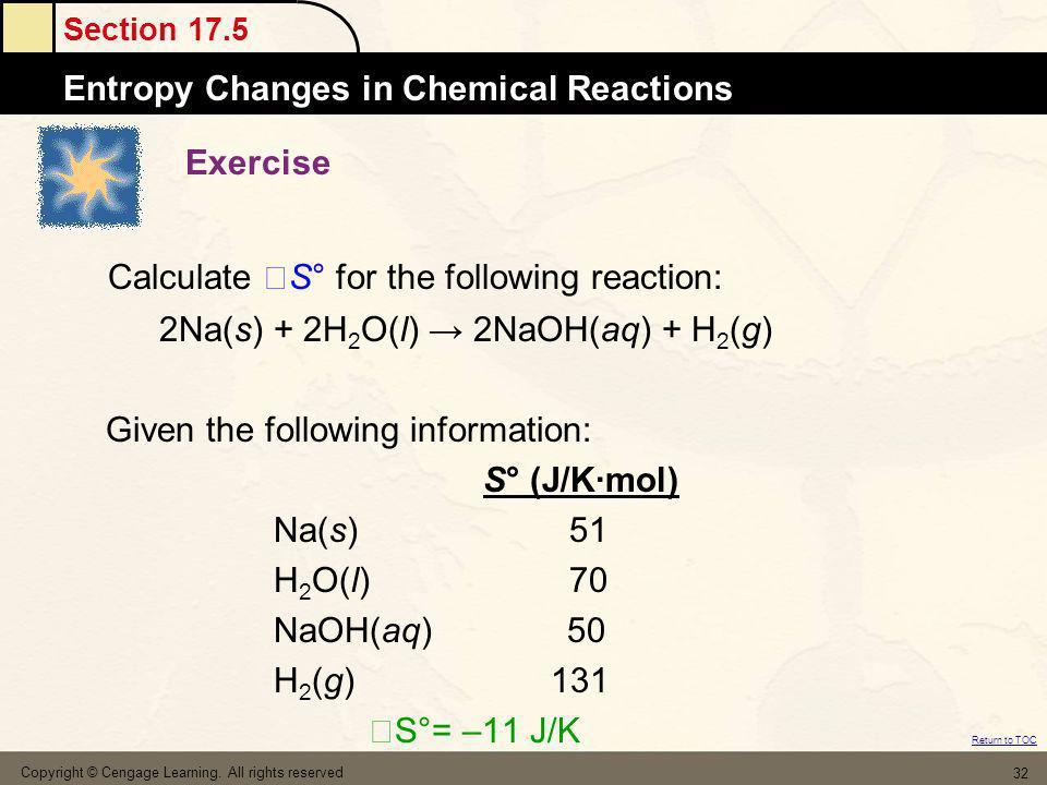Calculate S° for the following reaction: