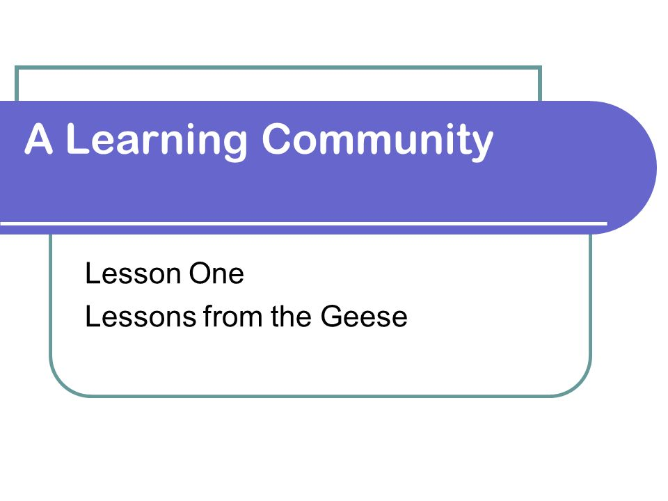 Lesson One Lessons from the Geese