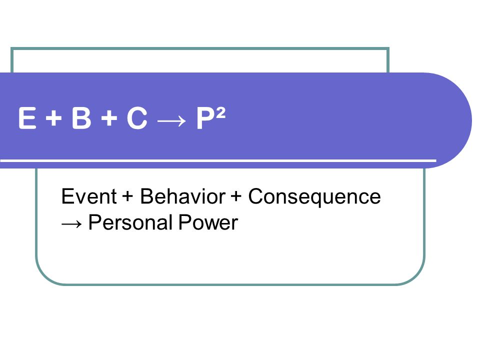 Event + Behavior + Consequence → Personal Power
