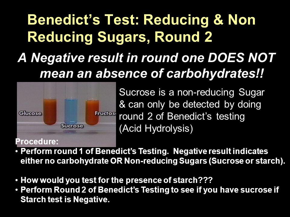 sucrose non reducing sugar test