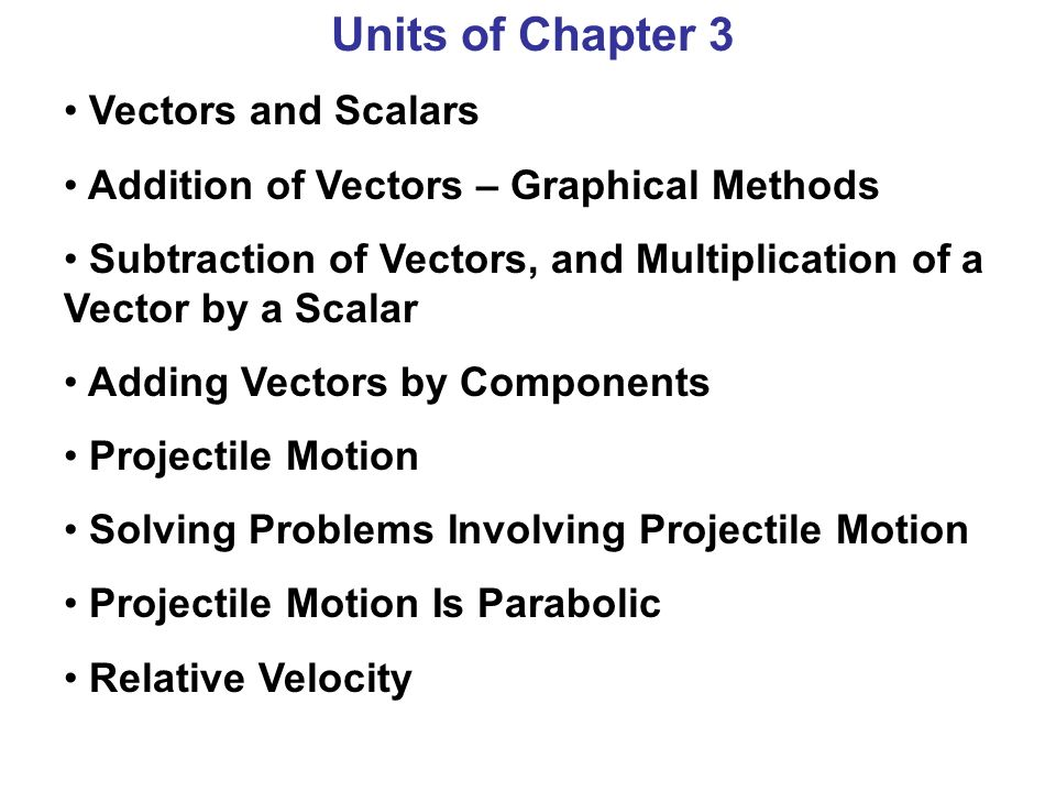 Units of Chapter 3 Vectors and Scalars