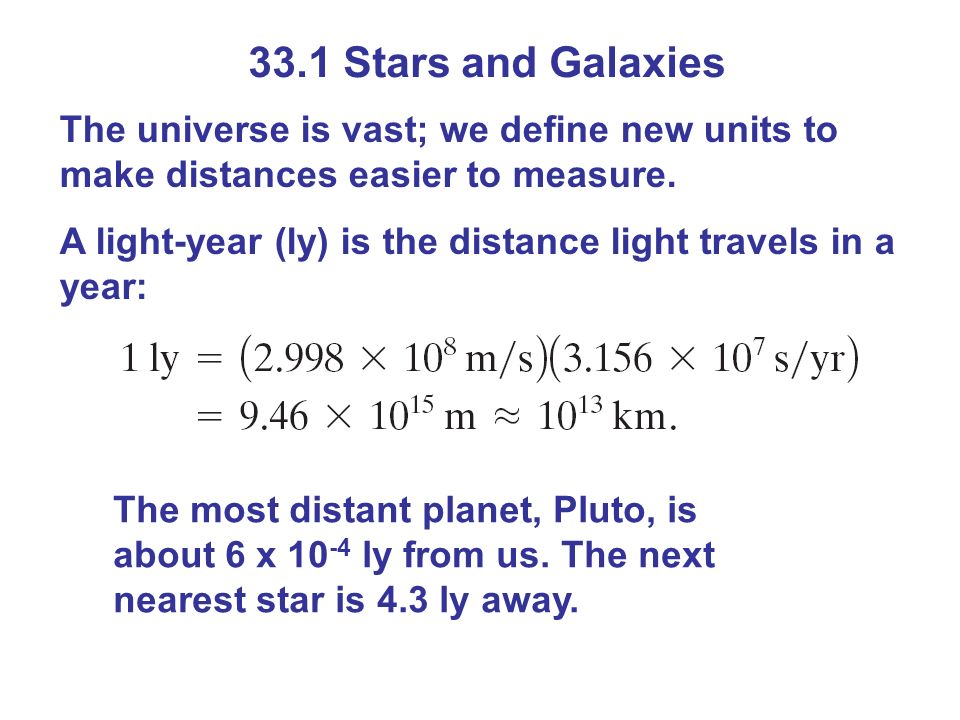33.1 Stars and Galaxies The universe is vast; we define new units to make distances easier to measure.
