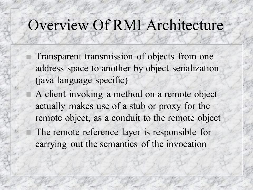 Overview Of RMI Architecture