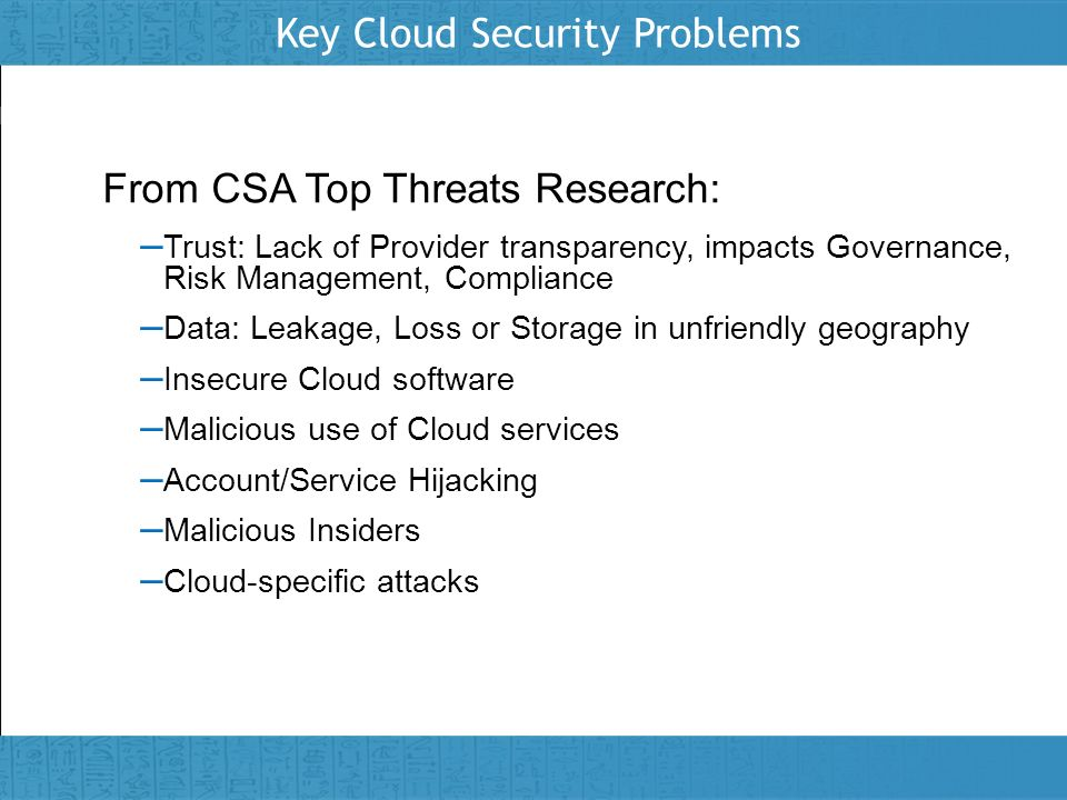 Key Cloud Security Problems