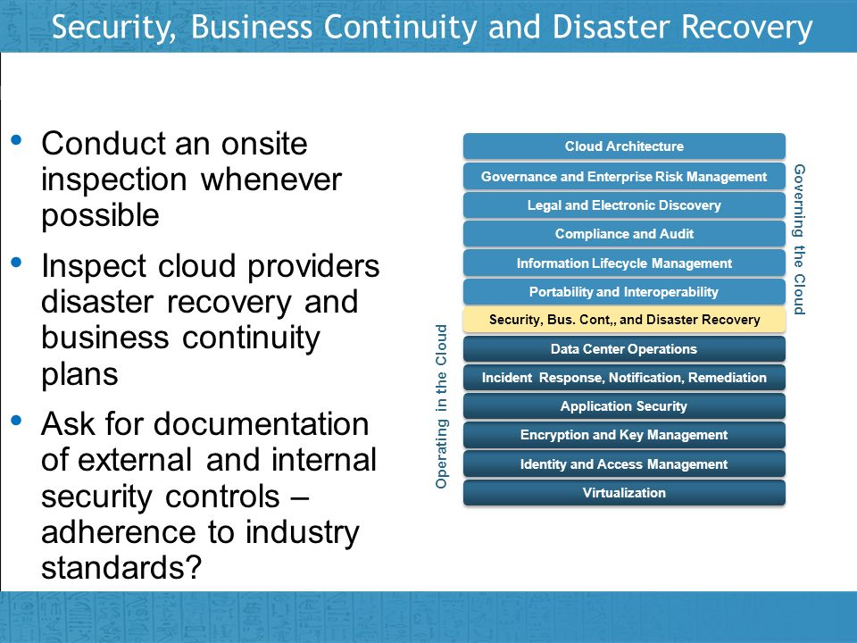 Security, Business Continuity and Disaster Recovery