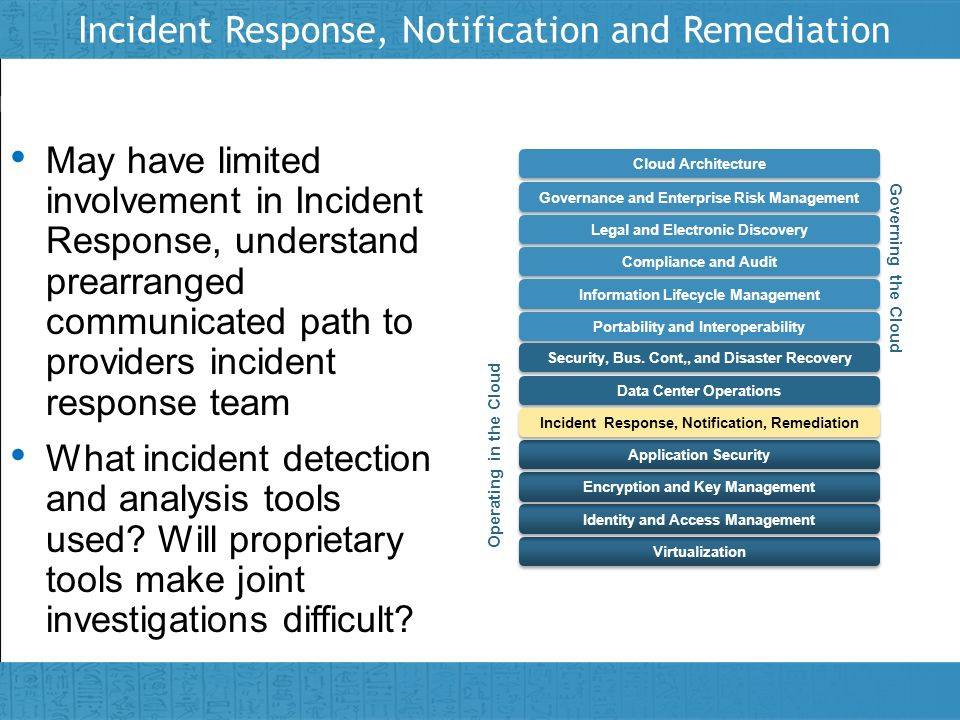 Incident Response, Notification and Remediation