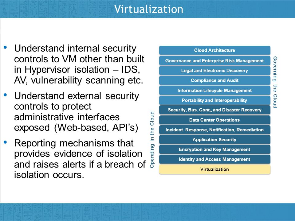 Virtualization Understand internal security controls to VM other than built in Hypervisor isolation – IDS, AV, vulnerability scanning etc.