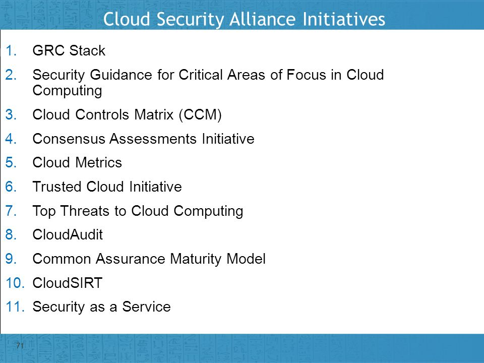Cloud Security Alliance Initiatives