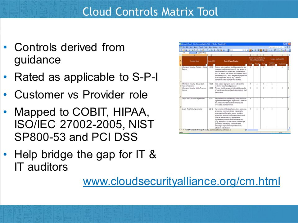 Cloud Controls Matrix Tool
