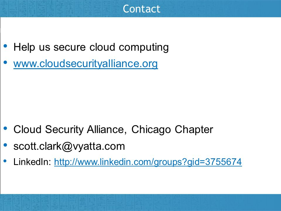 Help us secure cloud computing www.cloudsecurityalliance.org