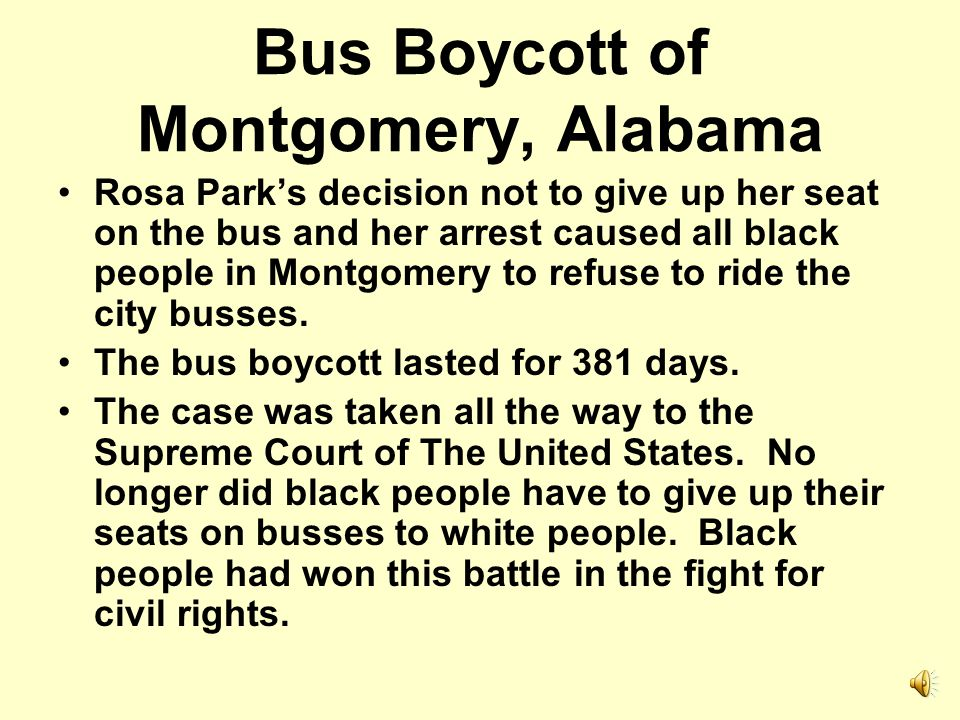 Bus Boycott of Montgomery, Alabama