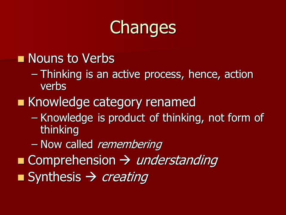 Changes Nouns to Verbs Knowledge category renamed