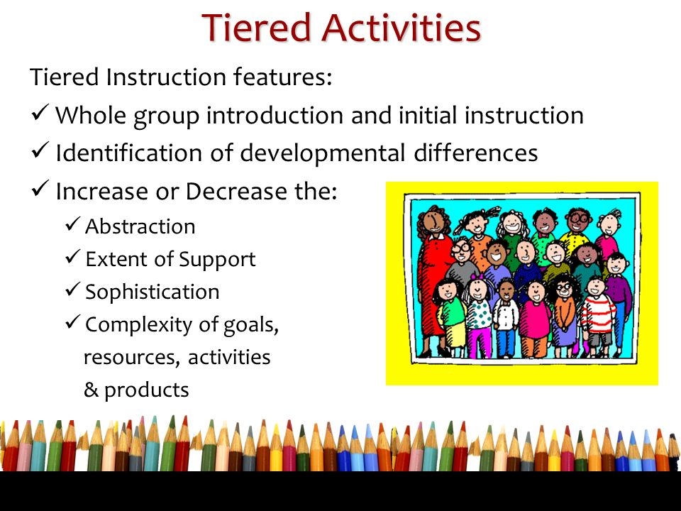 Tiered Activities Tiered Instruction features: