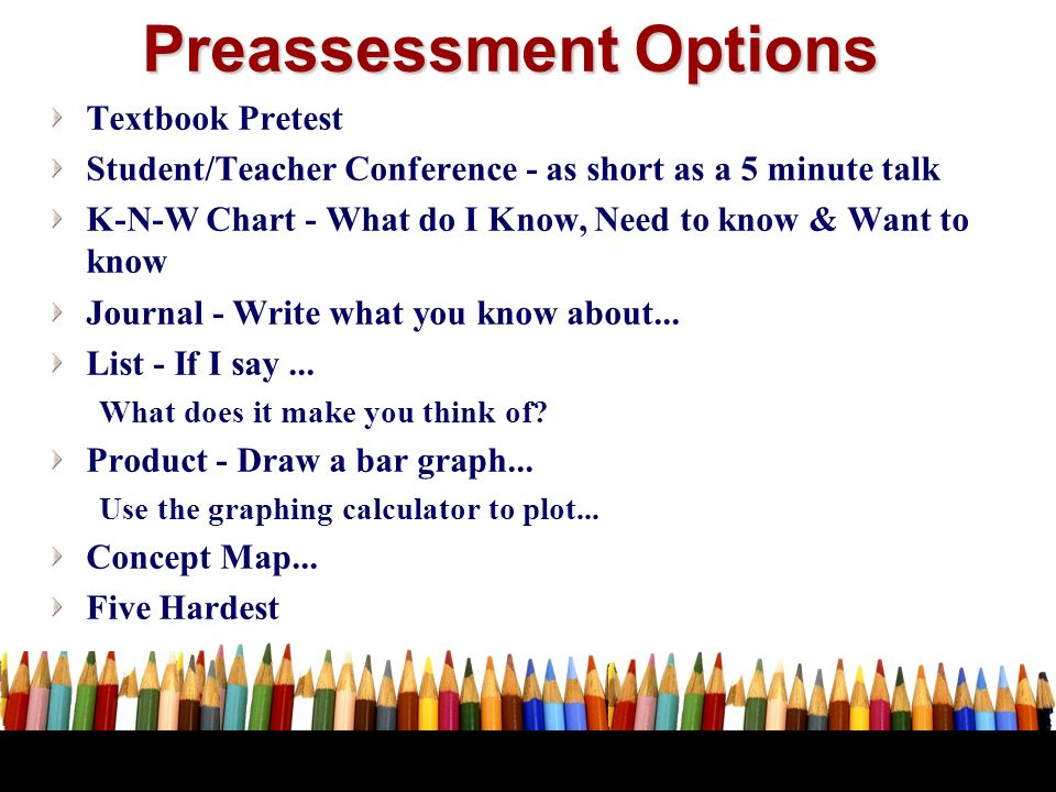 Preassessment Options