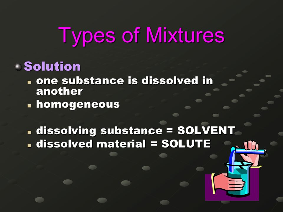 Types of Mixtures Solution one substance is dissolved in another