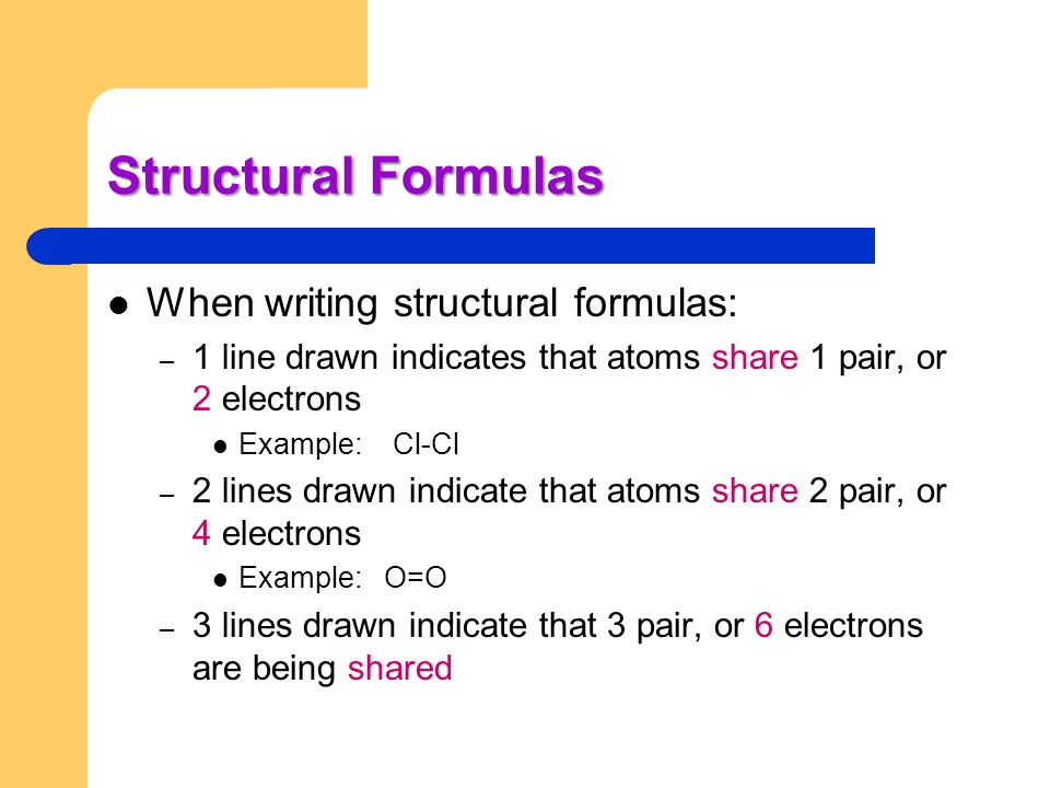 Structural Formulas When writing structural formulas: