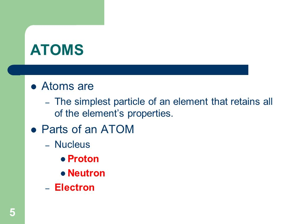 ATOMS Atoms are Parts of an ATOM