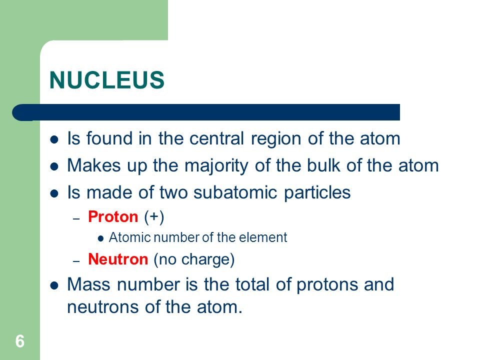 NUCLEUS Is found in the central region of the atom