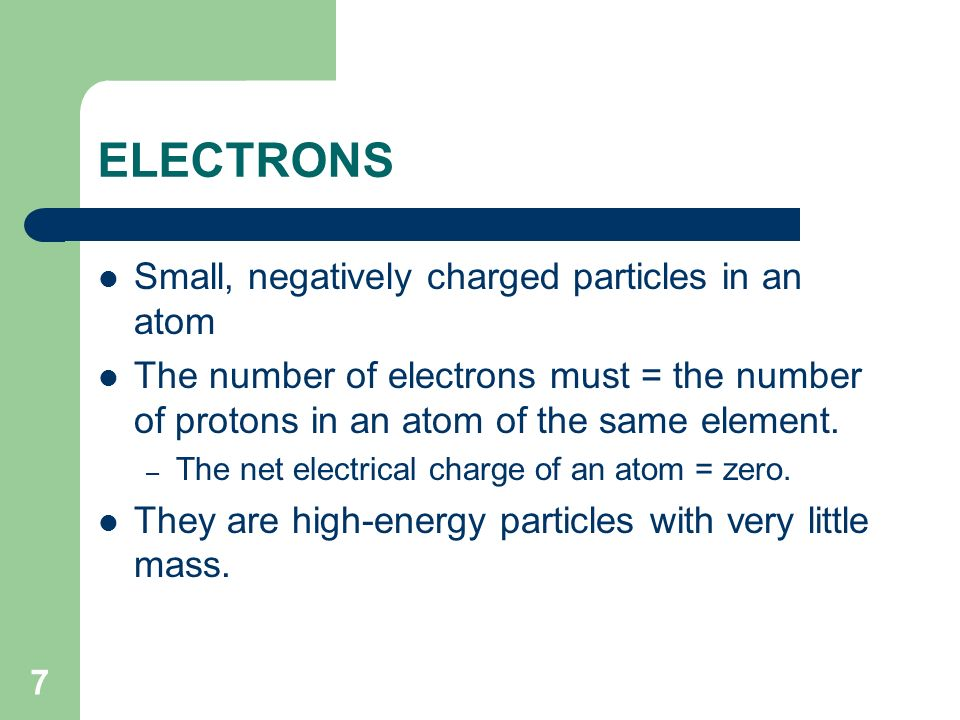 ELECTRONS Small, negatively charged particles in an atom