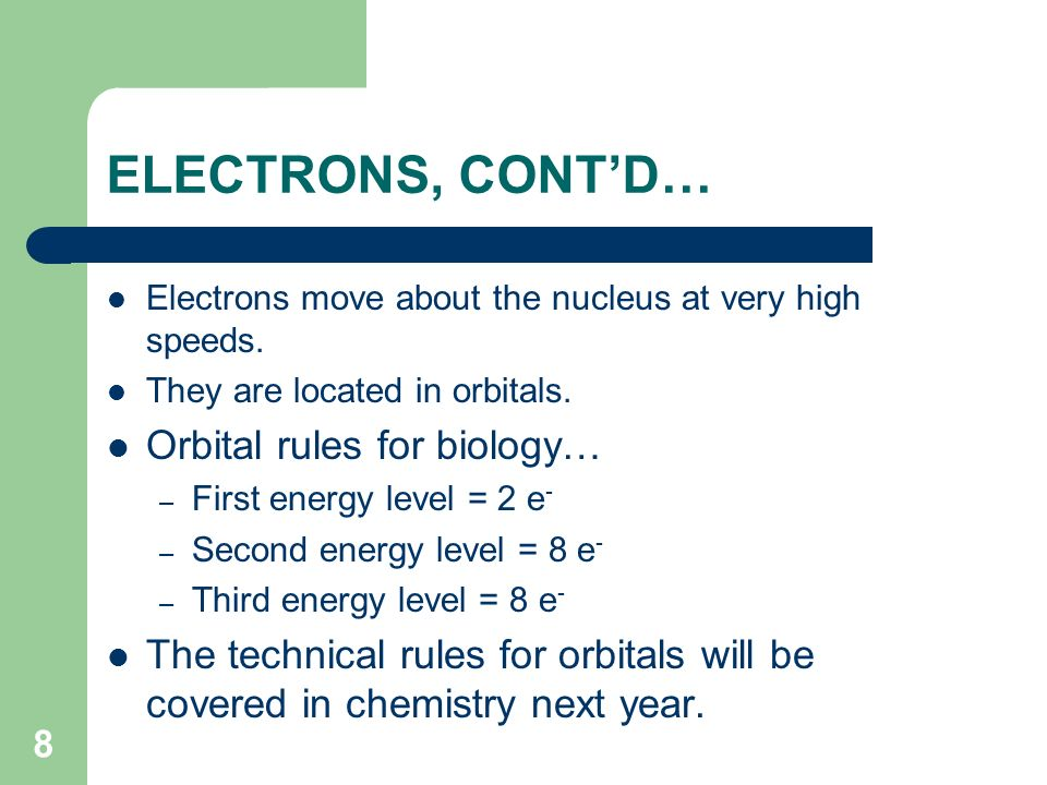 ELECTRONS, CONT'D… Orbital rules for biology…