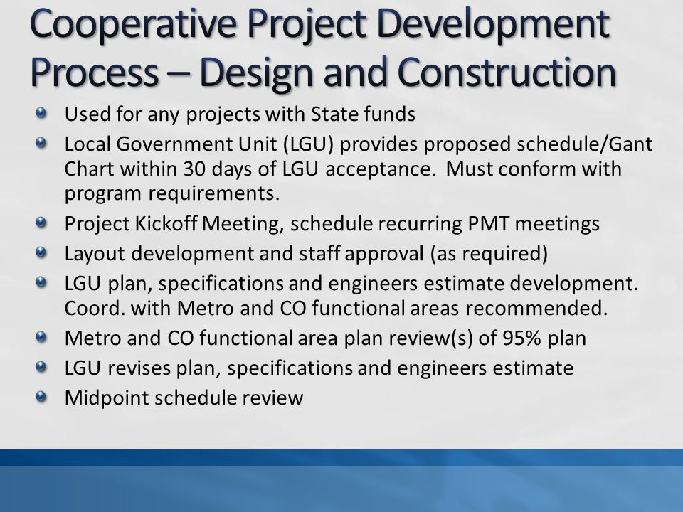 Cooperative Project Development Process – Design and Construction