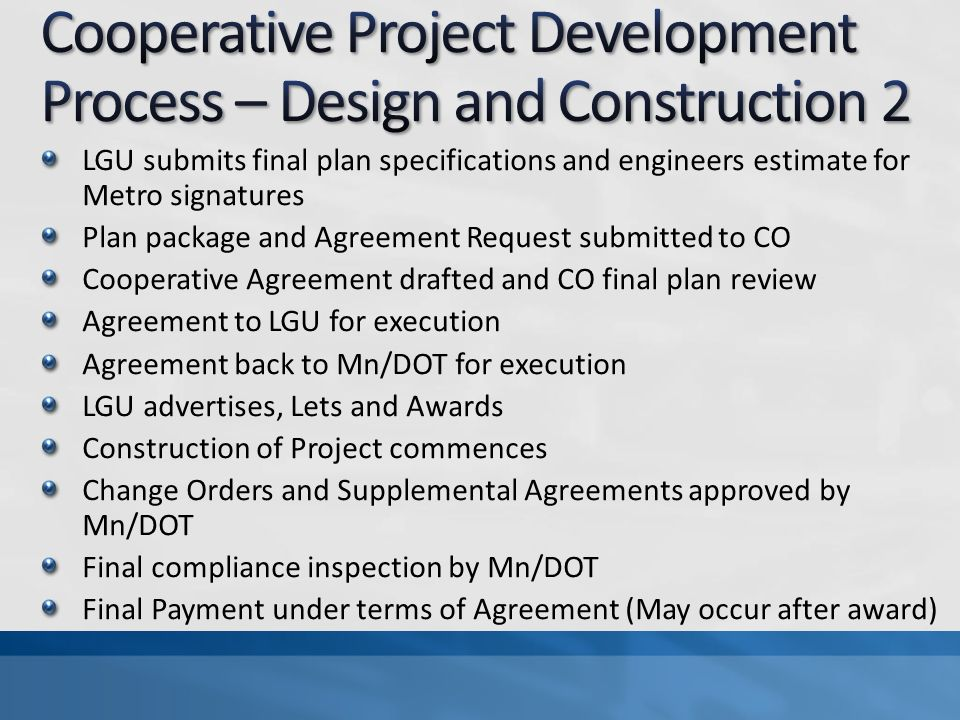 Cooperative Project Development Process – Design and Construction 2