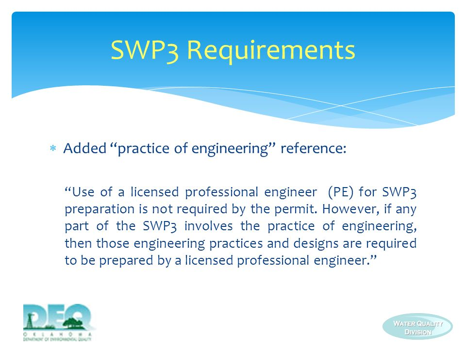 SWP3 Requirements Added practice of engineering reference: