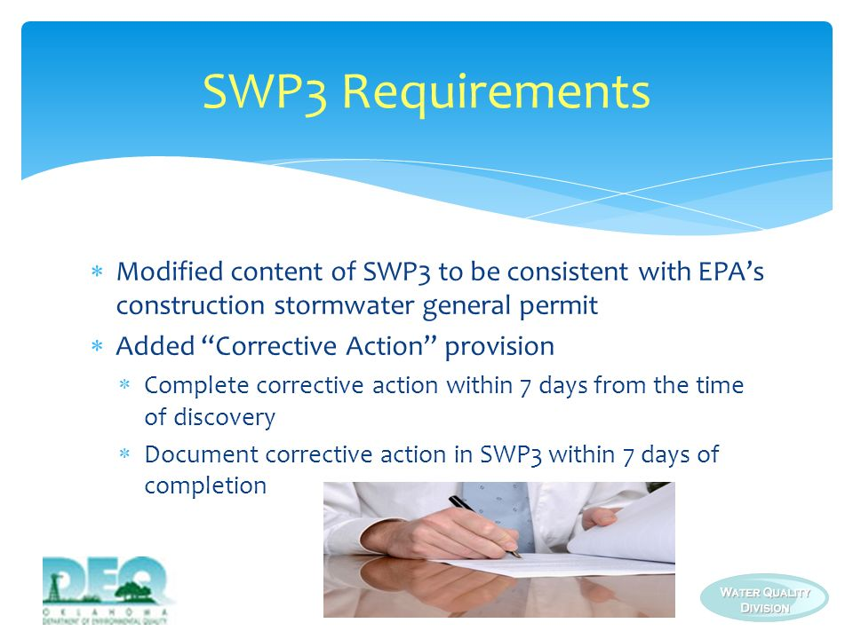 SWP3 Requirements Modified content of SWP3 to be consistent with EPA's construction stormwater general permit.