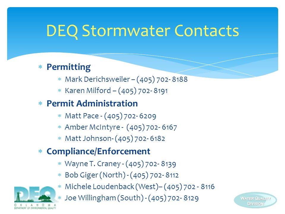DEQ Stormwater Contacts