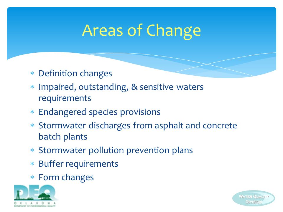 Areas of Change Definition changes