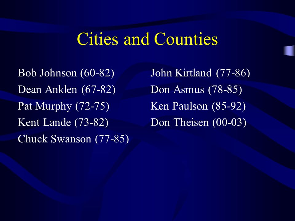 Cities and Counties Bob Johnson (60-82) Dean Anklen (67-82)