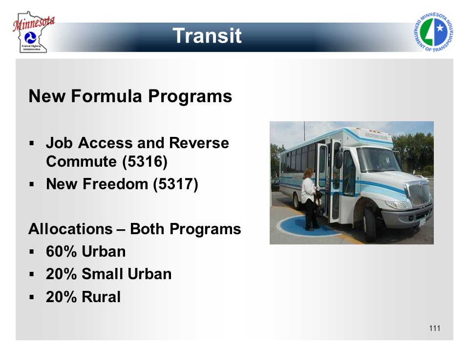 Transit New Formula Programs Job Access and Reverse Commute (5316)