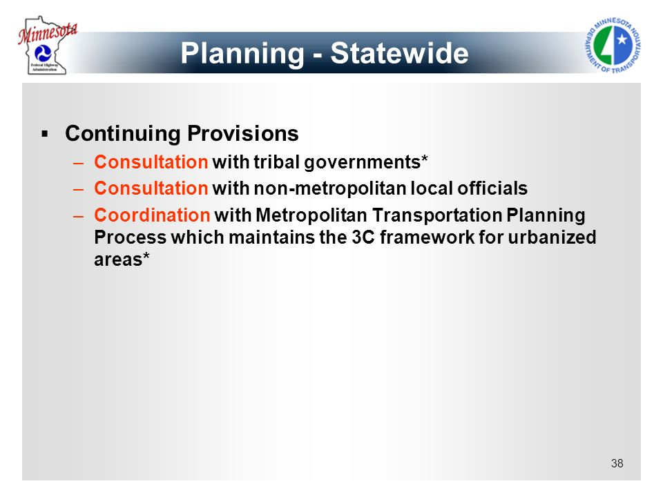 Planning - Statewide Continuing Provisions