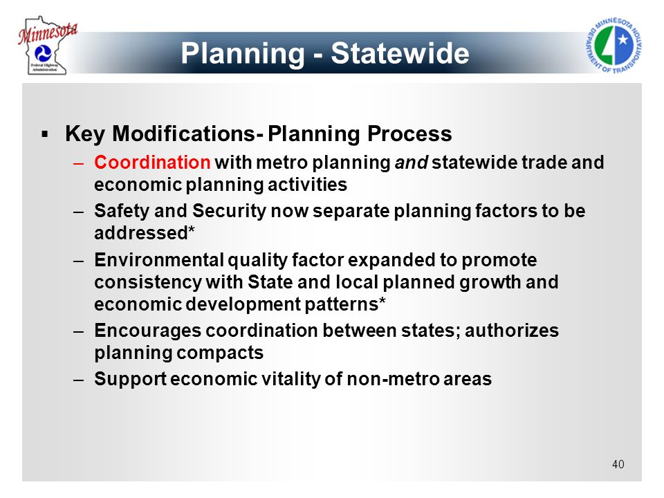 Planning - Statewide Key Modifications- Planning Process