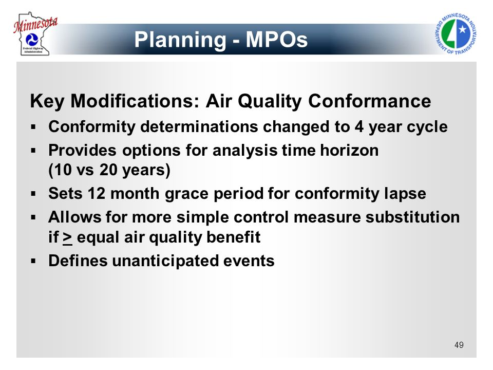 Planning - MPOs Key Modifications: Air Quality Conformance